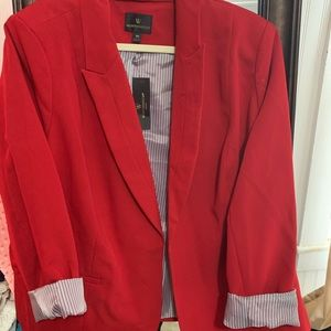 Red blazer with pinstripe lining